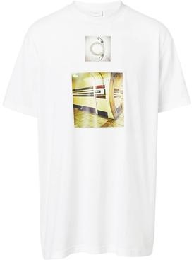 montage print T-shirt WHITE