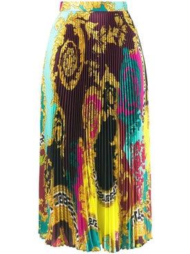Versace - Baroque Printed Pleated Skirt Multicolor - Midi