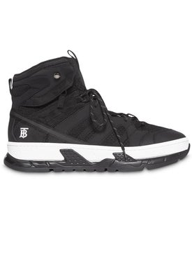 Burberry - Monogram Motif Mesh And Nubuck High-top Sneakers - Men