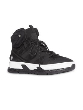 Burberry - Monogram Motif Mesh And Nubuck High-top Sneakers - Men