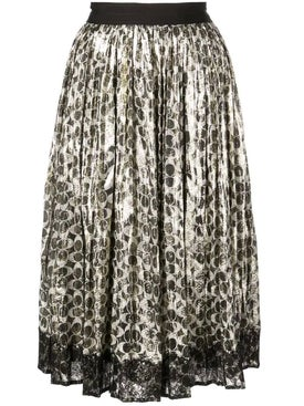 Coach - Metallic Pleated Skirt Silver - Women