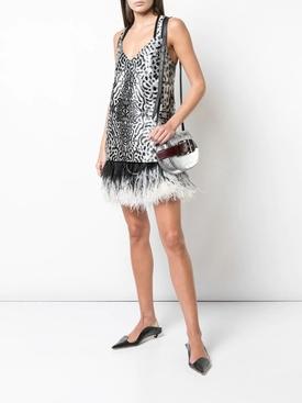 feather trim leopard mini dress