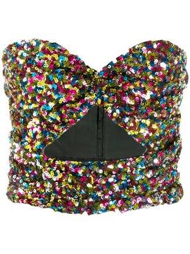 Attico - Sequinned Strapless Top Multicolor - Women