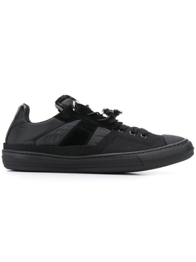 spliced low top sneakers BLACK