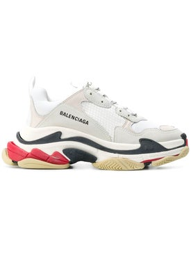 Balenciaga - Red And Black Detail Triple S Sneakers - Men