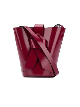 knotted front bucket bag BURGUNDY