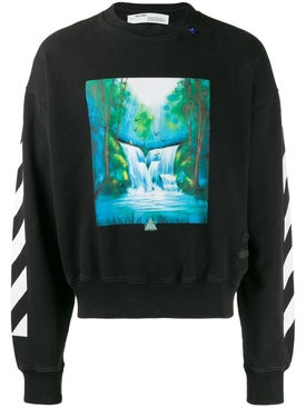 Off-white - Waterfall Crewneck Sweater Black - Men
