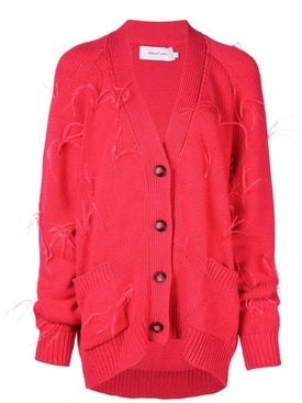 Marques'almeida - Feathers Oversized Cardigan Red - Tops