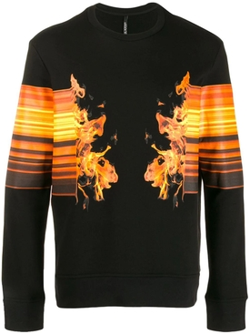 Neil Barrett - Flame Crew Neck Sweater Black/orange - Men