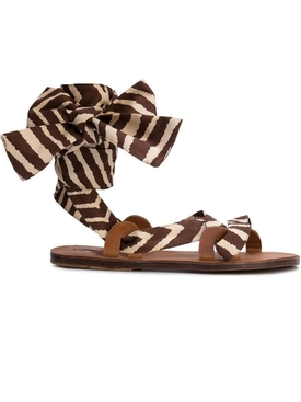 Brother Vellies - Zebra Flat Sandals Brown - Women