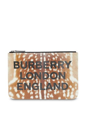 Burberry - Deer Print Leather Zip Pouch - Men