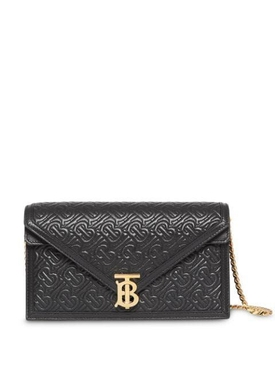 Small Quilted Monogram TB Envelope Clutch BLACK