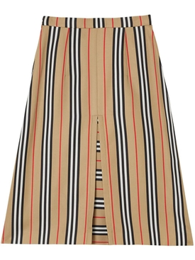 Box Pleat Detail Icon Stripe A-line Skirt