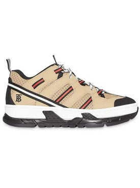 Burberry - Beige Monogram Motif Mesh And Leather Sneakers - Low Tops