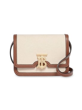 Burberry - Mini Two-tone Canvas And Leather Tb Bag - Women