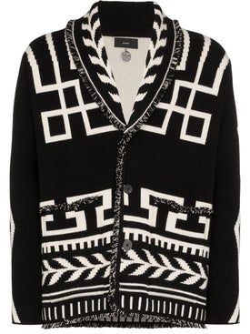 Alanui - Black And White Intarsia Knit Cashmere Cardigan - Men