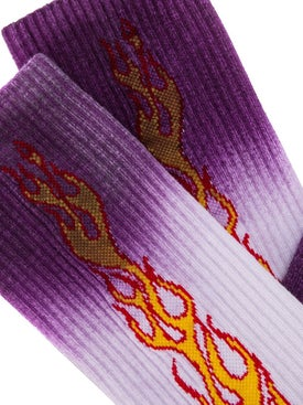 Palm Angels - Gradient-effect Flame Socks Purple - Socks