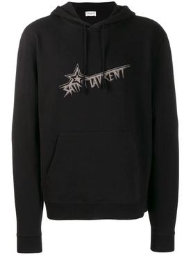 logo print hoodie BLACK