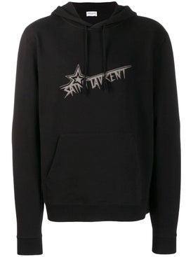 Saint Laurent - Logo Print Hoodie Black - Hoodies