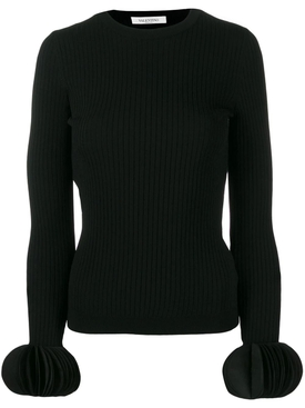 embroidered stretch sweater BLACK