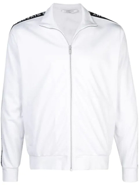 ticker sleeve logo zip up track jacket WHITE