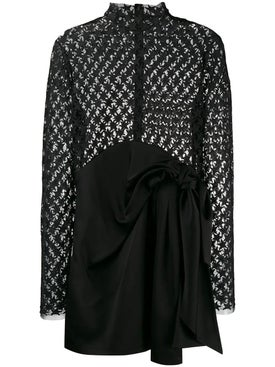 Saint Laurent - Star Embroidered Sheer Mini Dress - Long-sleeve