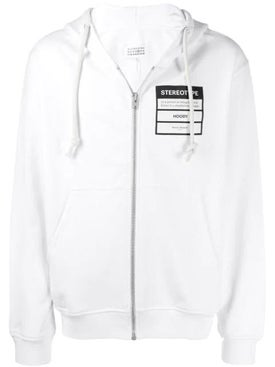 Maison Margiela - Stereotype Zip Front Hoodie White - Men