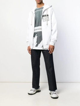 Stereotype zip front hoodie WHITE