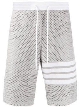 Thom Browne - Mesh Track Shorts Light Grey - Men