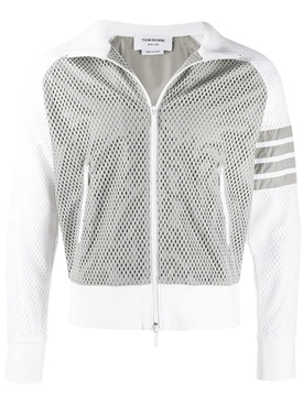 4-bar mesh track jacket LIGHT GREY