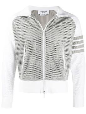 Thom Browne - 4-bar Mesh Track Jacket Light Grey - Men