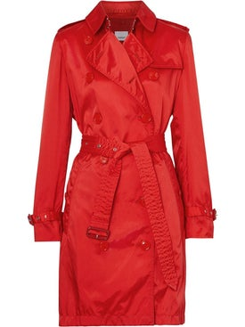 Burberry - Bright Red Detachable Hood Technical Nylon Trench Coat - Women