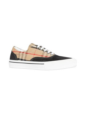 Burberry - Vintage Check Cotton And Suede Sneakers - Men