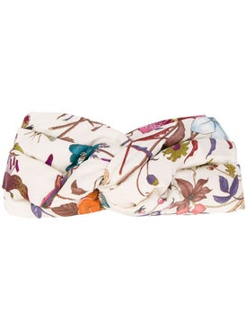 Gucci - Silk Headband With Floral Print Floral - Women
