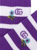 Gucci - Embroidered Terry Cloth Socks Purple - Socks