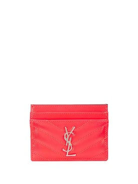 Saint Laurent - Chevron-quilted Monogram Cardholder Neon Pink - Women