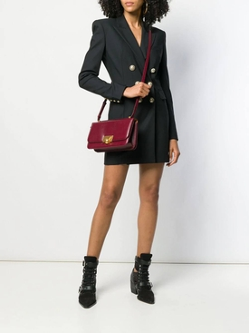 black double-breasted blazer dress