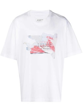 Maison Margiela - Destroyed Logo Print T-shirt White - T-shirts