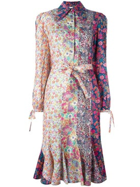 Olympia Le-tan - Floral Print Belted Shirt Dress - Women