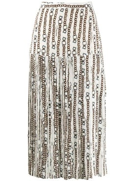Salvatore Ferragamo - Pleated Print Skirt Neutral - Midi