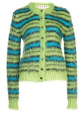Marni - Green And Blue Fuzzy Striped Cardigan - Tops
