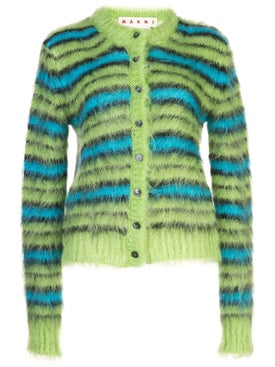 Marni - Green And Blue Fuzzy Striped Cardigan - Women