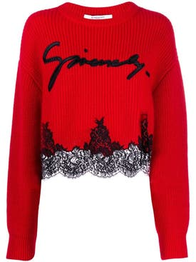 Givenchy - Pop Red Lace Hem Jumper - Women