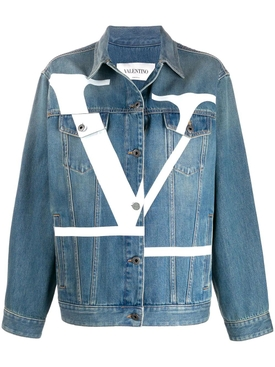 V logo medium blue denim jacket