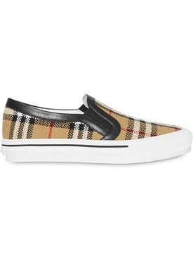 Burberry - Vintage Check And Leather Slip-on Sneakers - Women