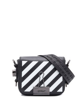 Off-white - Baby Flap Diagonal-stripe Shoulder Bag Black - Women