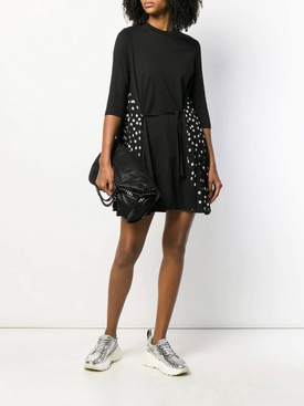 Polka-dot panel dress BLACK