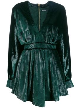 velvety metallic dress GREEN