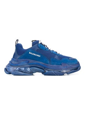 Balenciaga - Navy Leather Triple S Sneakers - Men