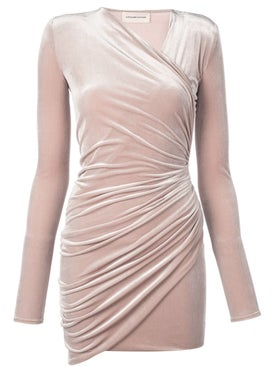 Alexandre Vauthier - Velvet Wrap Mini Dress Nude - Women